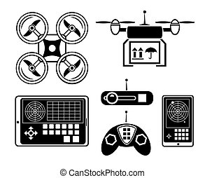 Vector quadrocopter or drone icon set