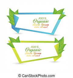 Colorful set of banners with fresh green leaves. Eco design
