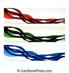 Set of colorful banners with curved lines. Vector illustration