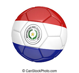 Soccer ball with flag of Paraguay - Soccer ball, or...