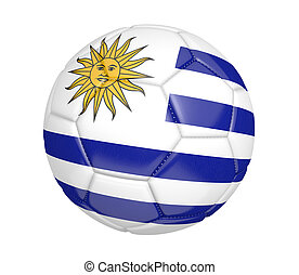 Soccer ball with flag of Uruguay - Soccer ball, or football,...