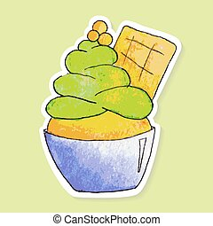 Watercolor pistachio ice cream - Watercolor sticker of...