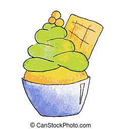 Watercolor pistachio ice cream in cartoon style, vector