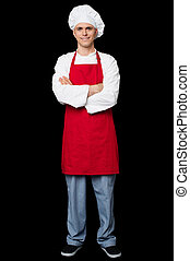 Handsome chef posing with arms crossed