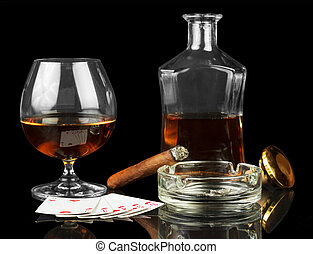 Cards, cigar and whisky - Cards, cigar and glass of whisky...