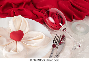 Valentine Day table setting with glass and cutlery