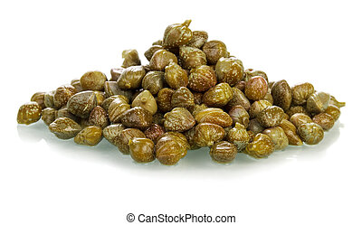 Pickled capers - The pickled capers isolated on white...