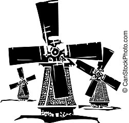 Windmills - Woodcut style image of three old style dutch...