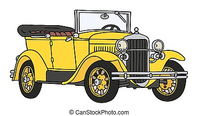 Vintage cabriolet - Hand drawing of a vintage yellow...