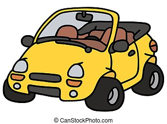 Yellow cabriolet - Hand drawing of a funny yellow cabriolet...