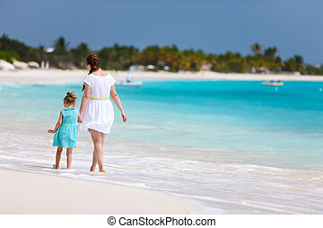 Mother and daughter at beach - Mother and daughter on...