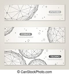 Banners set with wireframe mesh polygonal elements. Spheres...