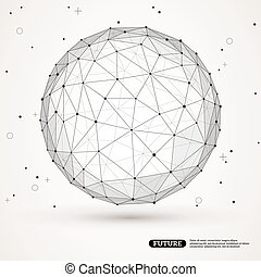 Wireframe mesh polygonal element. Sphere with connected...