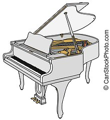 White grand piano - Hand drawing of a white opened grand...