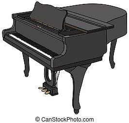 Black grand piano - Hand drawing of a black closed grand...