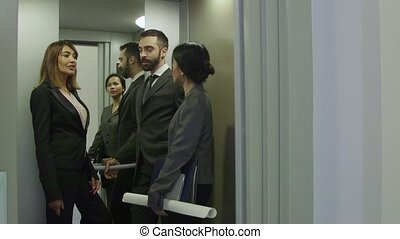 Elevator Lift Office Workers People - Group of people on...
