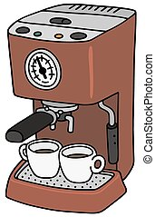 Electric espresso maker - Hand drawing of a red electric...