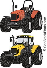 Tractors - Hand drawing of red and yellow tractors - any...