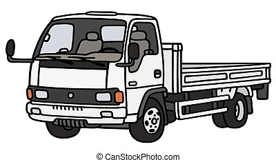 White small lory - Hand drawing of a white small lorry truck...