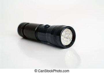 flashlight - black pocket flashlight on white