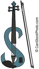 Blue electric violin - Hand drawing of a blue electric...