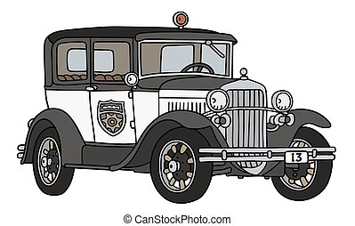 Vintage police car - Hand drawing of a vintage police car -...
