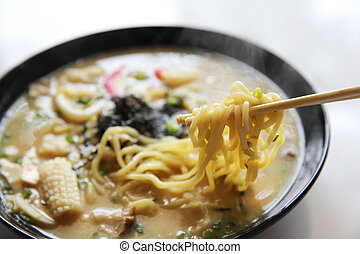 Seafood noodle ranmen Japanese food