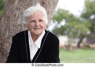 octogenarian - portrait of an elderly octogenarian sitting...