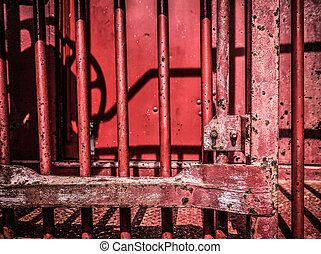 Old Red Caboose - Closeup of an old red caboose red paint