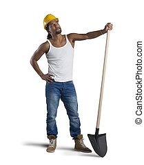 Sexy construction worker with hat and shovel