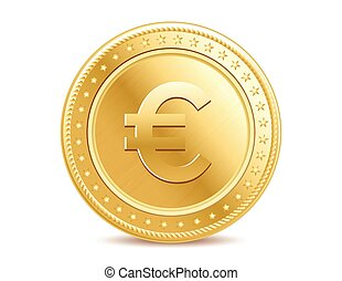 Golden isolated euro coin on the white background
