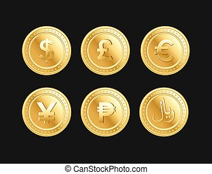 Currency golden dollar, pound, euro, yen, peso and riyal...