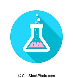 Erlenmeyer flask - Vector chemistry icon with laboratory...