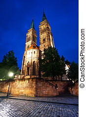 St Sebaldus church night view in Nuremberg, Bavaria, Germany...