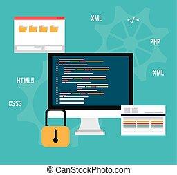 Software design - Software design over blue background,...