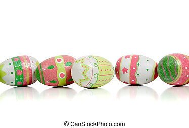 Decorated easter eggs on white