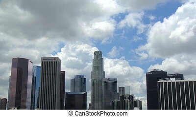 Cloudy Downtown LA - Clouds billow above the skyscrapers of...