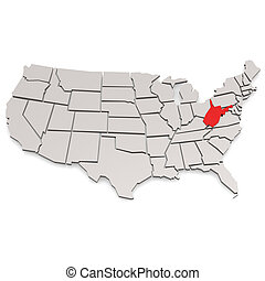 West Virginia map image with hi-res rendered artwork that...