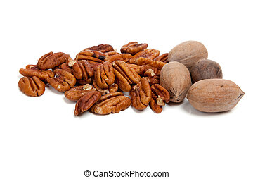 Shelled and whole pecans on white background