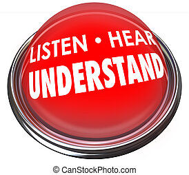 Listen Hear Understand Red Button Light Learn Comprehension...