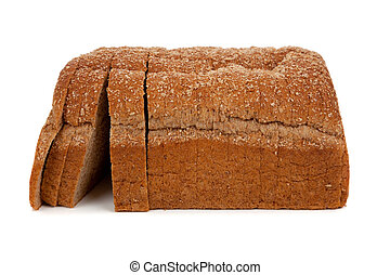 a loaf of sliced wheat bread on white