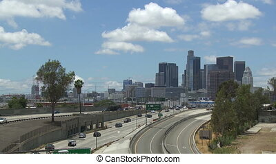 Downtown Los Angeles 101 Freeway - Wide shot of vehicle...