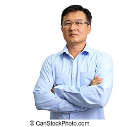 Portrait of businessman wearing glasses on white background