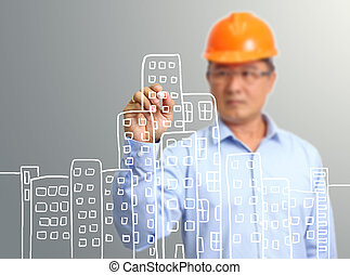 engineer hand draw construction site on the virtual screen