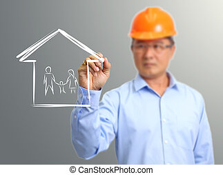 engineer hand draw family in house on the virtual screen
