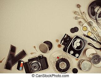Retro movie camera and photo - Retro movie camera and photo...