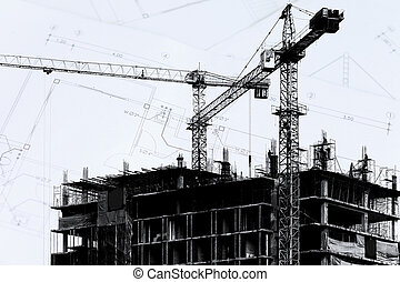 Construction site with cranes on silhouette background