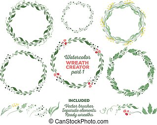 Vector watercolor wreaths and separate floral elements for...