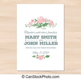 Vector wedding invitation with watercolor flowers and...