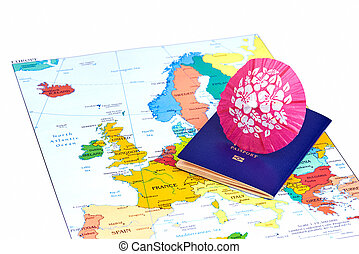 Passport and map of Europe. Travel concept.